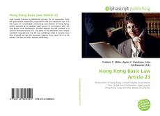 Bookcover of Hong Kong Basic Law Article 23