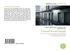 Bookcover of Criminal law of Canada