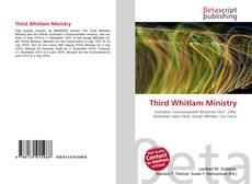 Portada del libro de Third Whitlam Ministry