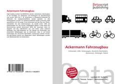 Bookcover of Ackermann Fahrzeugbau