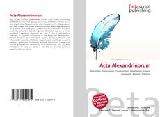 Copertina di Acta Alexandrinorum