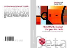 Buchcover von Rhind Mathematical Papyrus 2/n Table