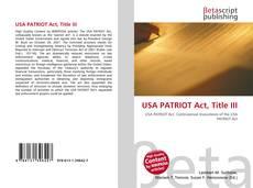 USA PATRIOT Act, Title III的封面