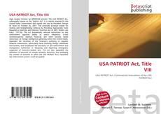 USA PATRIOT Act, Title VIII的封面