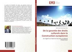 Capa do livro de De la garantie des droits culturels dans la Construction européenne