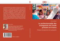 Couverture de La professionnalité des enseignants de l'école primaire en France
