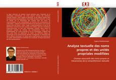 Capa do livro de Analyse textuelle des noms propres et des unités propriales modifiées