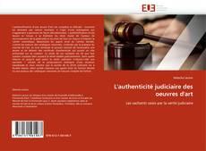 Buchcover von L'authenticité judiciaire des oeuvres d'art