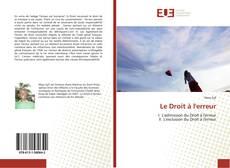 Bookcover of Le Droit à l'erreur