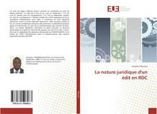 Portada del libro de La nature juridique d'un édit en RDC