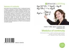 Bookcover of Modulus of continuity