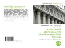 Buchcover von Article 10 de la Constitution de la Cinquième République Française