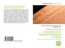 Bookcover of Article 65 de la Constitution de la Cinquième République Française