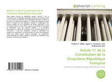 Buchcover von Article 11 de la Constitution de la Cinquième République Française