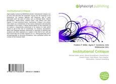 Borítókép a  Institutional Critique - hoz