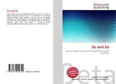 Bookcover of So and So