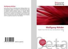 Buchcover von Wolfgang Röhder