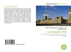Bookcover of Licensing Act 2003