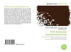 Bookcover of 1975 Australian Constitutional Crisis