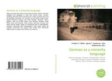 Bookcover of German as a minority language
