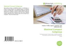 Bookcover of Maximal Compact Subgroup