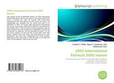 Bookcover of 2003 International Formula 3000 season