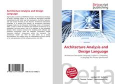 Bookcover of Architecture Analysis and Design Language