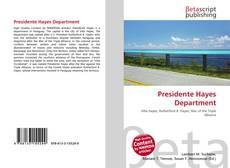 Portada del libro de Presidente Hayes Department