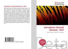 Salvadoran General Election, 1931 kitap kapağı