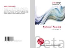 Bookcover of Names of Anatolia