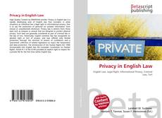 Bookcover of Privacy in English Law