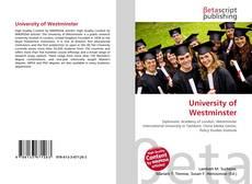 University of Westminster kitap kapağı