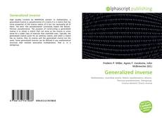 Bookcover of Generalized inverse
