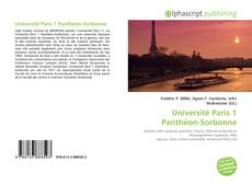 Bookcover of Université Paris 1 Panthéon-Sorbonne