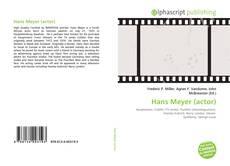 Buchcover von Hans Meyer (actor)