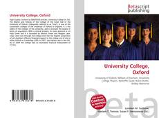 Capa do livro de University College, Oxford