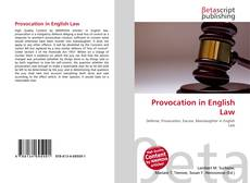 Bookcover of Provocation in English Law