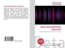 Capa do livro de Alexei Dmitrijewitsch Speranski