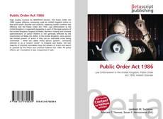 Public Order Act 1986 kitap kapağı