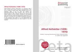 Portada del libro de Alfred Hofstetter (1898–1976)