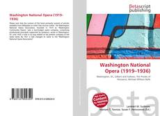 Capa do livro de Washington National Opera (1919–1936)