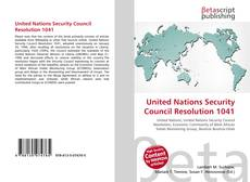 Bookcover of United Nations Security Council Resolution 1041