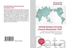 Обложка United Nations Security Council Resolution 1031