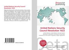 Buchcover von United Nations Security Council Resolution 1022