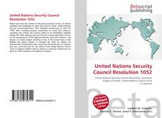 Bookcover of United Nations Security Council Resolution 1052