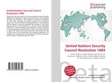 Bookcover of United Nations Security Council Resolution 1084
