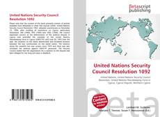 Bookcover of United Nations Security Council Resolution 1092