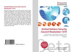 United Nations Security Council Resolution 1319 kitap kapağı