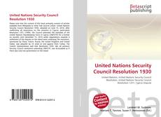 Bookcover of United Nations Security Council Resolution 1930