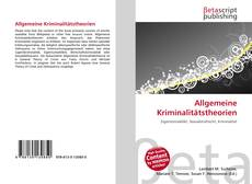 Обложка Allgemeine Kriminalitätstheorien